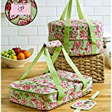 3pcs Celebrity TOP CHEF FOOD CARRIER SLOW COOKER AND CASSOROLE CARRIER WITH HANDLES… (Fusion Green Pink Floral)