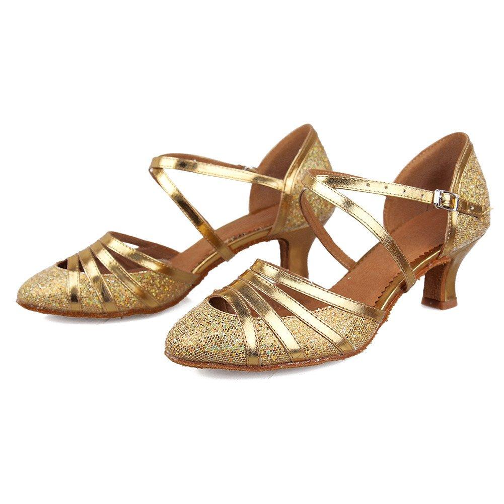 DKZSYIM Womens Fashion Ballroom Party Glitter Latin Dance Shoes Model CMJ-511