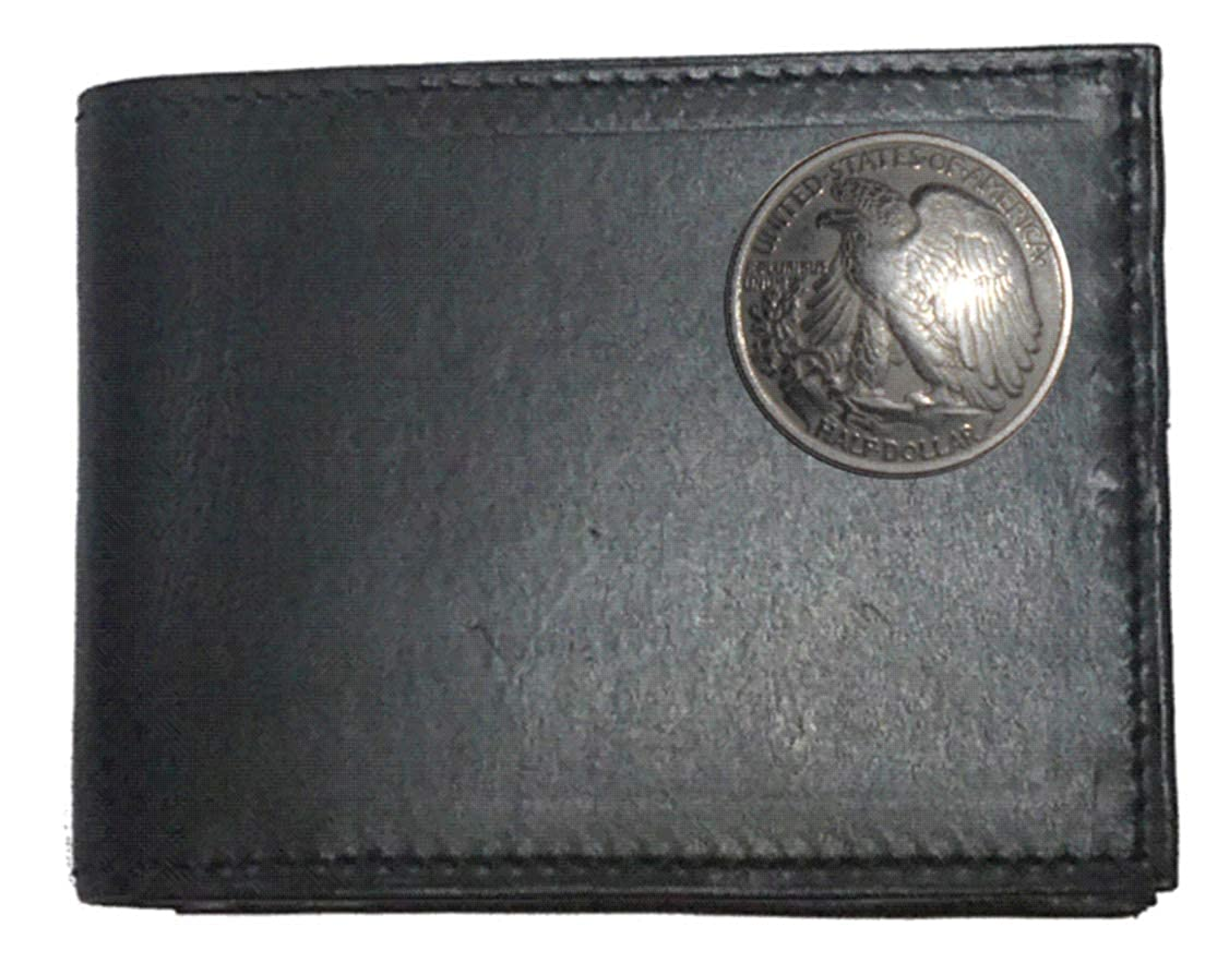 Proudly made in the USA. Custom Walking Liberty Half Dollar Tails Concho on a Black Harness Leather Bi-fold Wallet