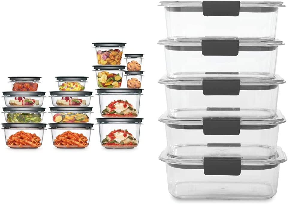 Rubbermaid Meal Prep Premier Food Storage Container, 28 Piece Set, Grey & Brilliance Food Storage Container, BPA free Plastic, Medium, 3.2 Cup, 5 Pack, Clear