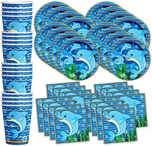 Dinner Plates Ocean Buddies Dolphin Party Tableware Set Napkins /& Balloons! Service For 16 Dessert Plates Cups
