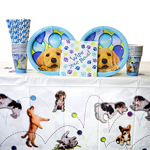 Party Pups Party Pack for 16 Guests - Straws, Lunch Plates, Luncheon Napkins, Cups, and Table Cover Puppy Birthday Party Supplies