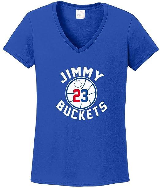 3b45e21c404d Prospect Shirts Blue Philadelphia Jimmy Buckets Logo Ladies V-Neck T ...