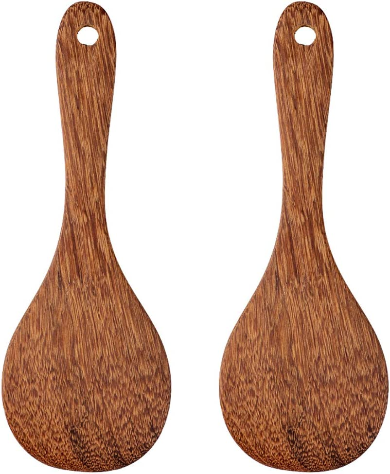 2 Pack Wooden Rice Spoon Rice Cooker Spatula Utensils Wood Rice Paddle Non Stick Rice Spatula Kitchen Cooking Salad Tongs Rice Serving Spoon Set