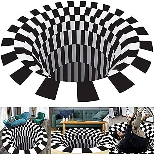 Generic Black and White Grid Round Carpet Living Room Doormat Coffee Table Sofa Blanket Three-Dimensional Illusion Carpet