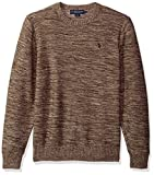 U.S. Polo Assn. Men's MARL Reverse Jersey Crew Neck Sweater, Coffee MARL, Medium