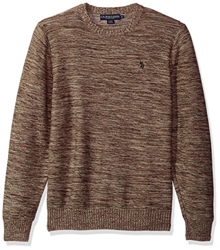 U.S. Polo Assn. Men's MARL Reverse Jersey Crew Neck Sweater, Coffee MARL, Medium by U.S. Polo Assn.