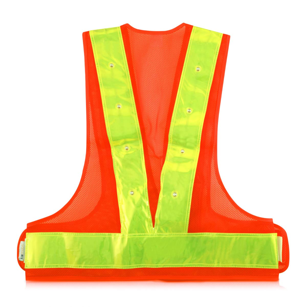 kwmobile LED Light Safety Vest High Visibility Waistcoat Traffic Outdoor Night Warning Reflector Clothing with Reflective Stripes and 16 LED Lights