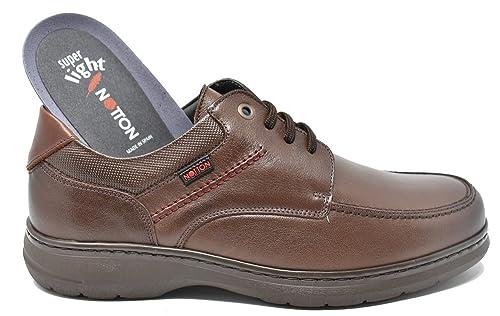 NOTTON Zapato Blucher de Hombre Ancho Especial - Marrón - 3227 (43)
