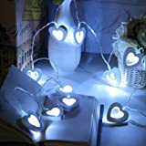 Skitic 20 LED Lights Clip String Wooden Love Heart Fairy Decor Battery Powered Romantic Hanging String Light Artwork Crafts Wood Decoration for Wedding Home Bedroom Living Room Valentine's Day Festival Christmas Birthday Party - White