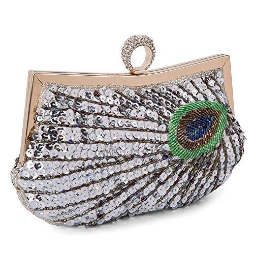 Women Rhinestone Silver Bag Embroidery Sequins Clutch Baglamor Peacock Shining Full Evening Handbag Purse Beaded SRqggTx