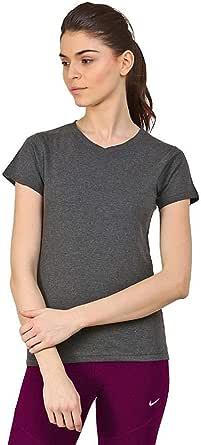 SkyFit Grey Color Cotton Short Sleeve V-Neck T-Shirt For Women