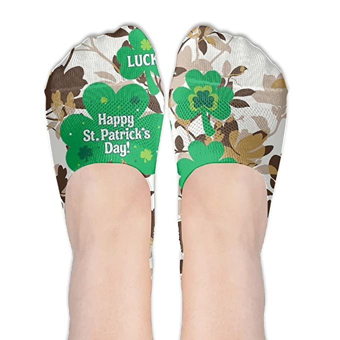 b5cbe6cf68880c Amazon.com  St.Patrick DayWomen Girls Thin Casual Non Slip Colorful Shoe  Sock Flats Boat Line Socks Novelty Fun Flat No Show Liners  Clothing