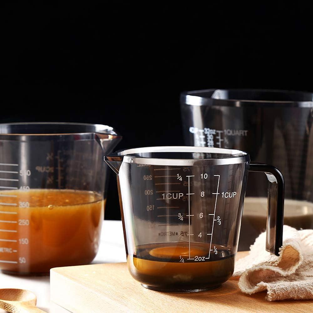 600 ml und 1000 ml in einander stapelbar und Sp/ülmaschinenfest Messkanne in 300 ml 3-teilig Lebensmittelecht HARVESTFLY Messbecher Set aus Kunststoff