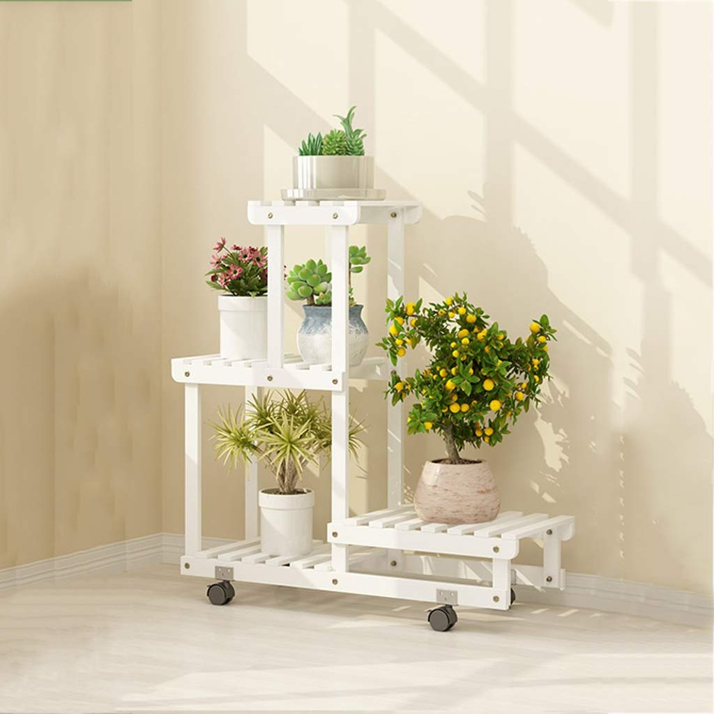 B 702571cm Flower racks - Wooden Flower Stand Floor Type Multi-Layer Indoor and Outdoor Rack Mobile Pot Shelf with Roller (color   A, Size   105  25  71cm)
