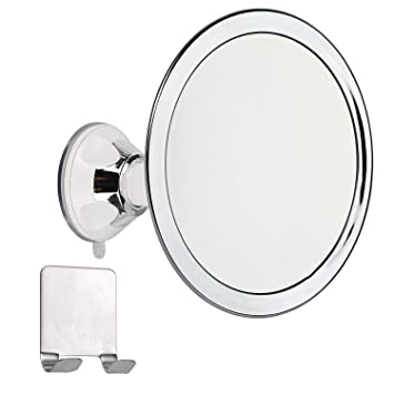 """6.5/"""" Fogless Suction Cup Shower Shave Bathroom Mirror W// Razor Holder Rotatable"""