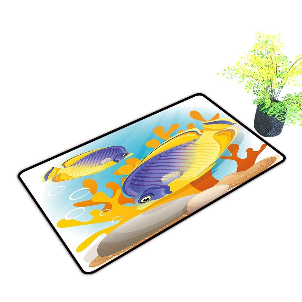 gmnalahome Extra Thick Door Mat Navy Exotic Tiny Aquarium Fish Aqua Blue and Mari Gold Soak Up Water and Dirt W39 x H19 INCH by gmnalahome