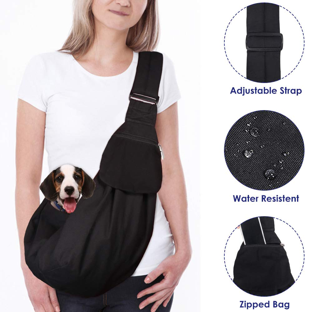 AutoWT Dog Padded Papoose Sling, Small Pet Sling Carrier Hands Free Carry Adjustable Shoulder Strap Reversible Outdoor Tote Bag with a Pocket Safety Belt Dog Cat Carrying Traveling Subway (Black) by AutoWT