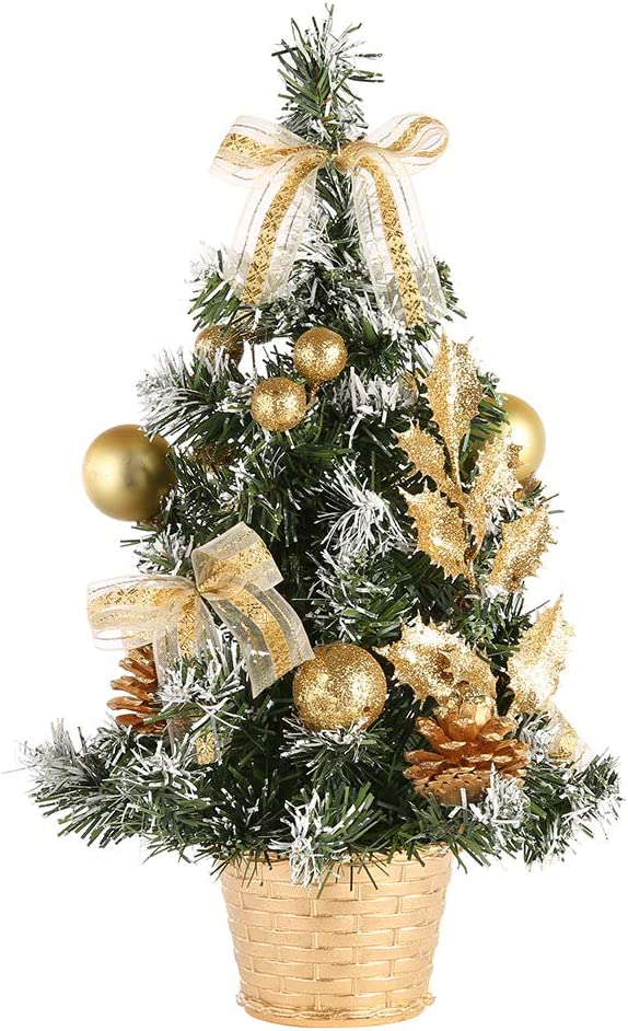 URMAGIC 15.75 Inch Christmas Tree Artifical, Majestic Pine Christmas Tree Tabletop Decor (15.75 inch, Gold)