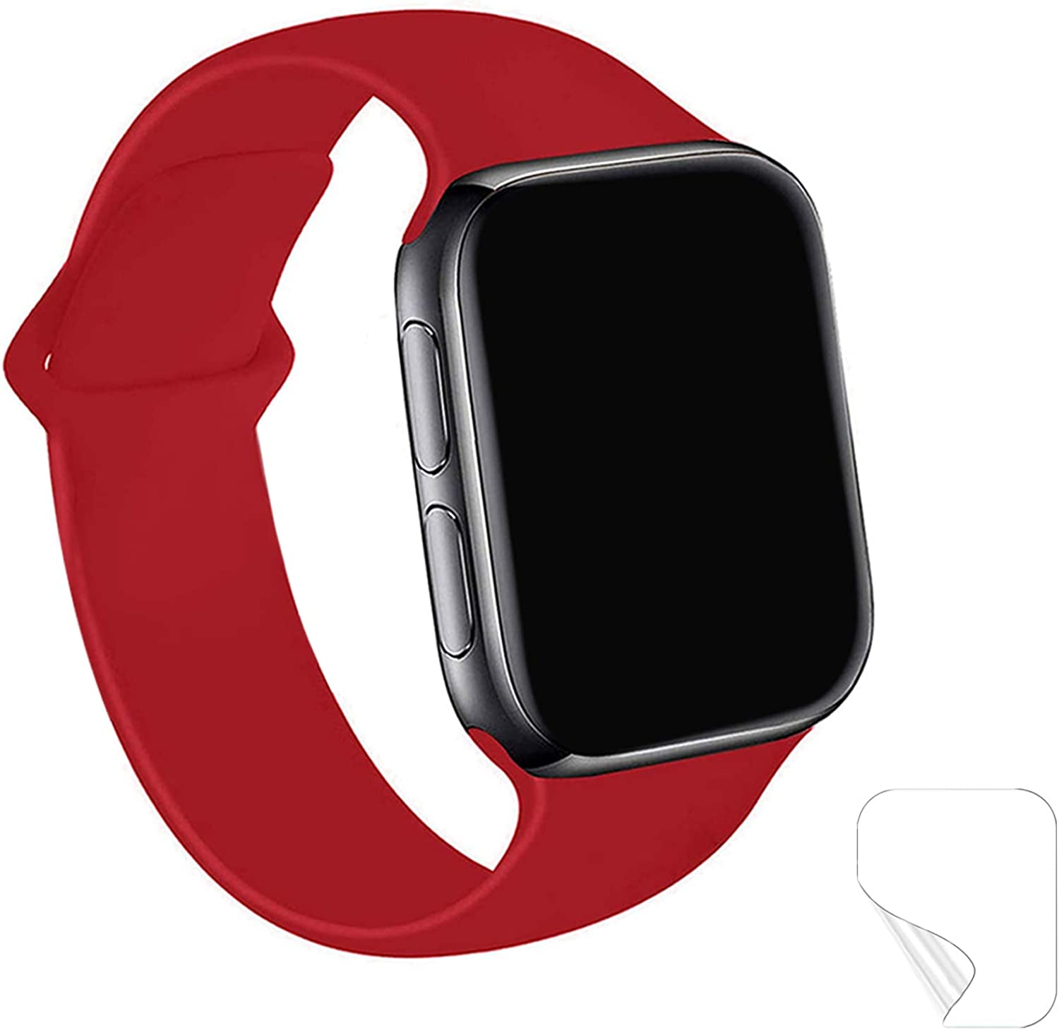Maoyea Bands Compatible with Apple Watch Band 38mm 40mm 42mm 44mm, Soft Silicone Band Replacement Wrist Strap with iWatch Series 6 5 4 3 SE, Sport Edition for Women Men
