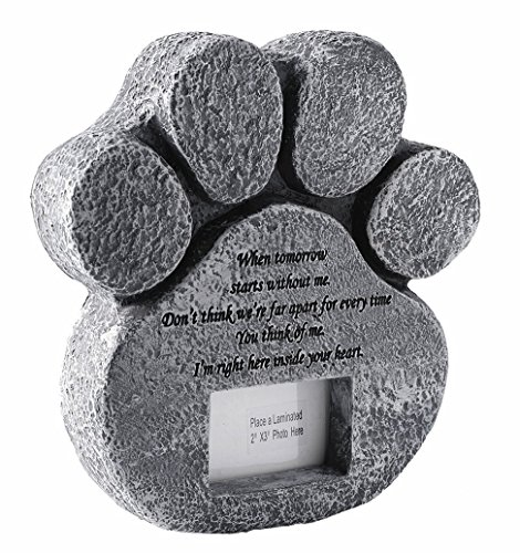 Personalized Garden Markers (pet memorial stone hand printed paw shaped personalized loss of pet with sympathy poem and replaceable photo frame design meaningful pet memorial stepping stones JHB (Paw))