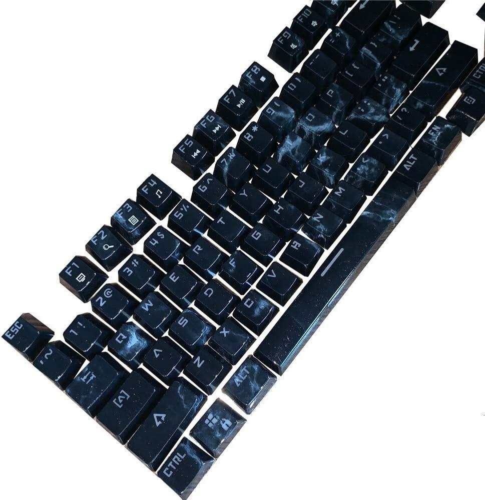 L-SHISM Belle Keycap ABS Double Shot Clavier mécanique rétro-éclairé clé Casquette for MX Commutateurs Profil Compatible Durable (Color : Blue) Black