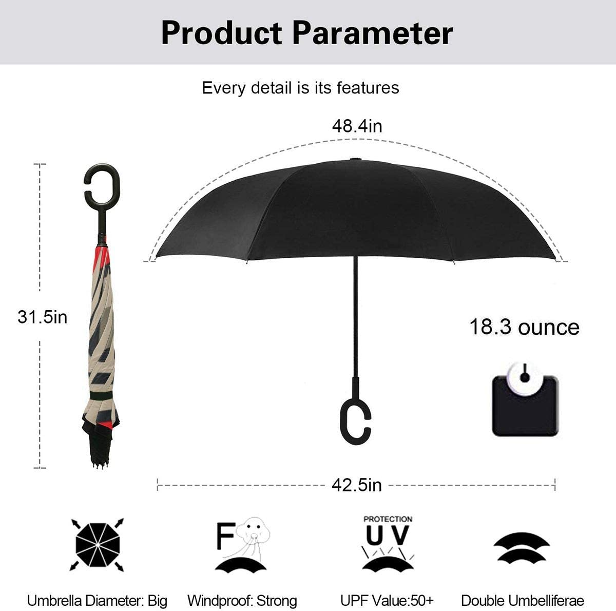 Hgnhgbn Charlotte Checkers Windproof And UV Resistant Fabric Car Reverse Umbrella