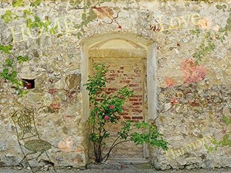 1art1 Muros - Muro De Un Jardín Romantico, 2 Partes Fotomural Autoadhesivo (240 x 180cm): Amazon.es: Hogar