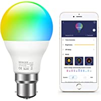 MINGER Colour Changing Light Bulb B22 Dimmable, 7W Sync to Music RGBW Color LED Light Bulb with APP, Dimmable Multi-Color Bulbs for Home Decoration Bar Party KTV Stage Holiday Bedlamp
