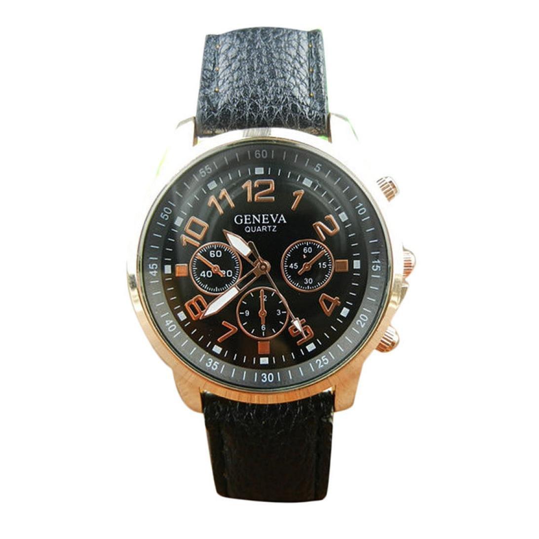fitfulvan新しいカジュアルMenWomenドレス手首腕時計、ユニセックスPUレザーバンドアナログクオーツVogue腕時計Watches BK  B07899C79Q