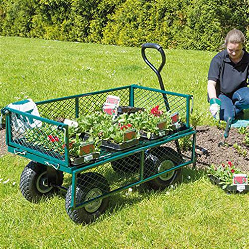 Garden Yard Dump Wagon Cart Lawn Cart Outdoor Heavy Duty Beach Landscape