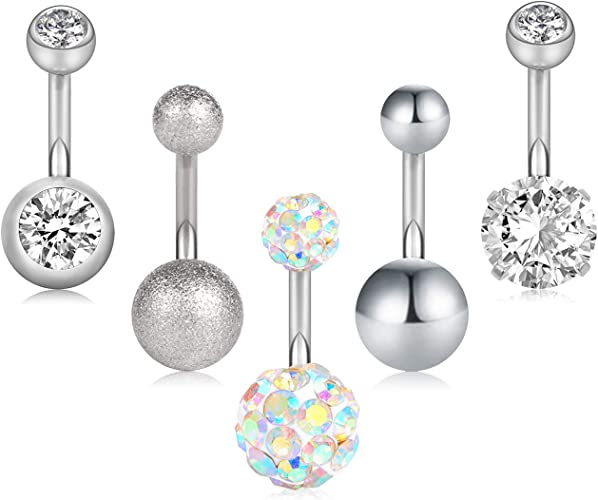 Surgical Steel Belly Button Ring Body Jewelry Piercing Ring Navel Ring with 4 Cubic Zirconia