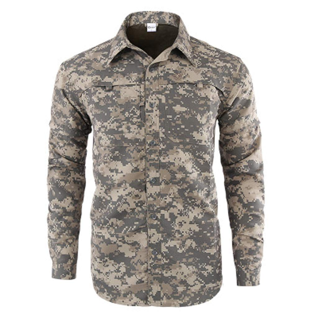 YenMY Fashion Men's Quick-Drying Casual Military Pure Color Long Sleeve T-Shirt Tops(S,Gray)