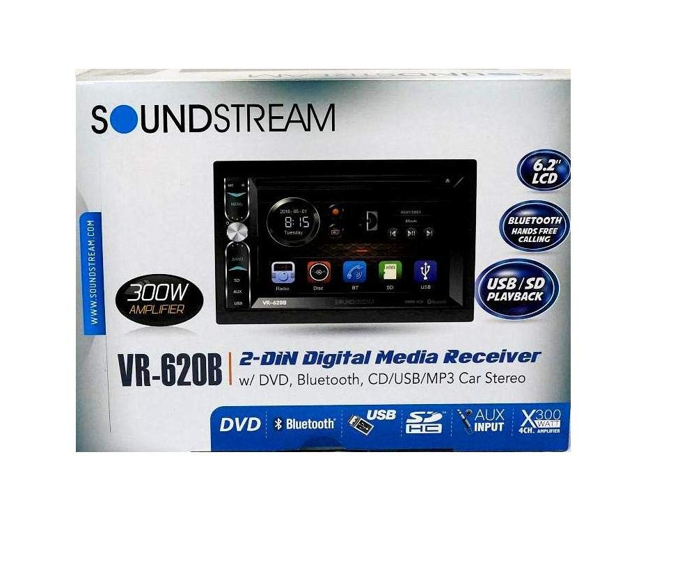 Amazon.com: Soundstream VR-620B Double Din in-Dash Receiver Touchscreen DVD/CD/MP3 Player 6.2