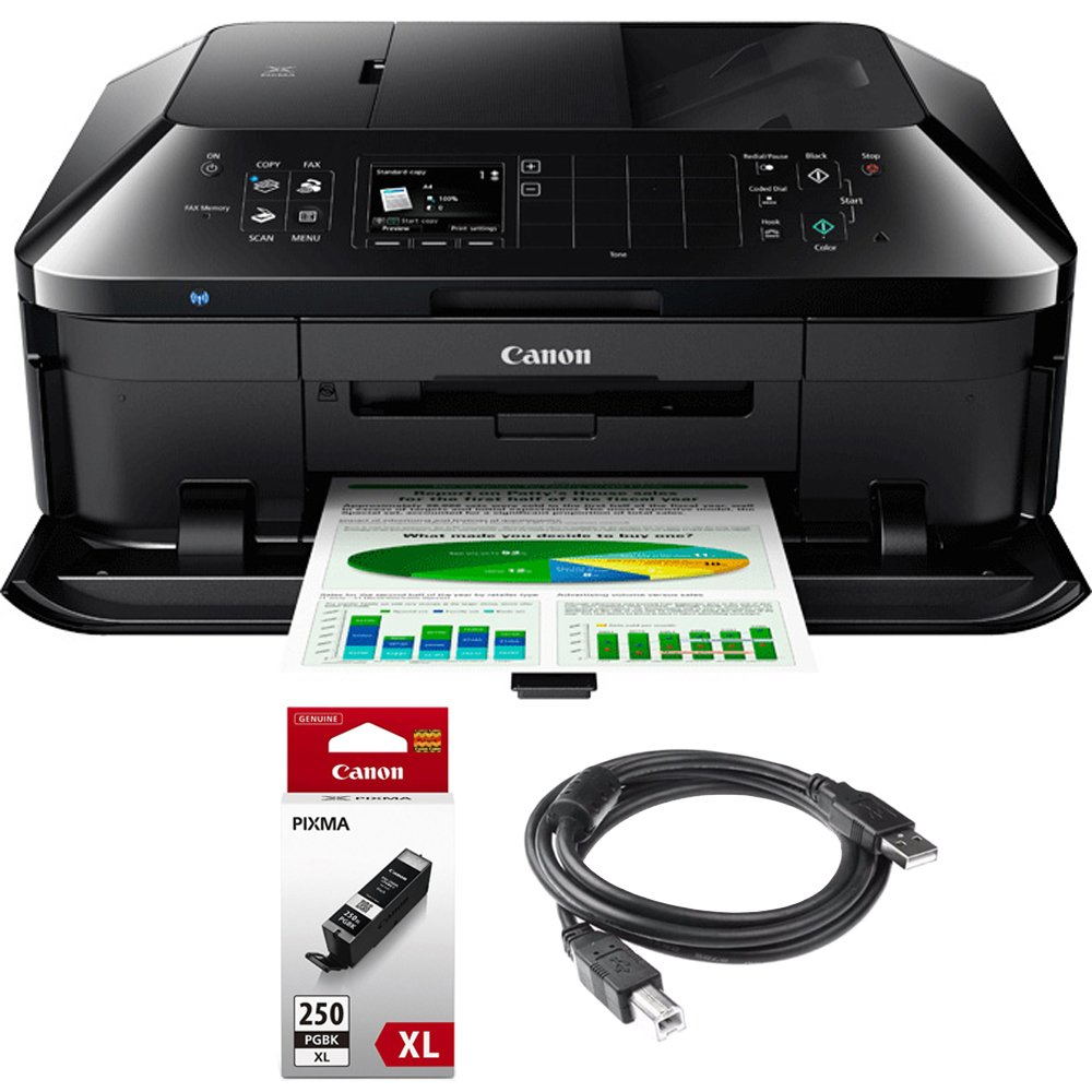 Canon PIXMA MX922 Wireless Inkjet Office All-In-One Printer + Genuine Canon Ink PGI-250 Pigment Black XL Ink + Printer Cable by Beach Camera
