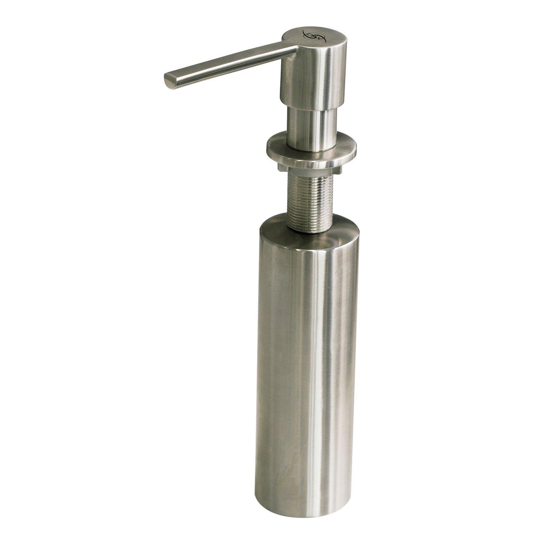 DAX Round Kitchen Sink Soap Dispenser, Deck Mount, Stainless Steel, Satin Finish, 2 x 6 x 3-1/4 Inches (DAX-009-01)