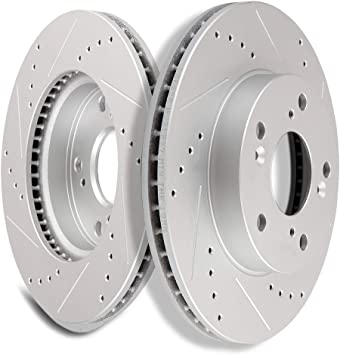 2pcs Front Left Right Drilled Slotted Vented Brake Rotors Discs Fit Acura Honda