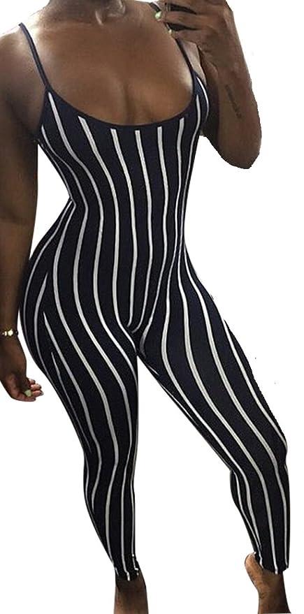 784297f513df New Ladies Black   White Striped Spaghetti Strap One-Piece Skinny Jumpsuits  Catsuit Playsuit Bodysuit Club Wear Clothing Size M UK 12 EU 40   Amazon.co.uk  ...