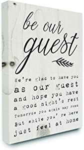 Stupell Industries Be Our Guest Poem Cursive Canvas Wall Art, 16 x 20, Design by Artist Daphne Polselli