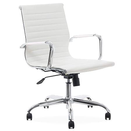 Sedia Operativa Con Braccioli.Sedstolen White Sedia Da Ufficio In Ecopelle Sedia Poltrona