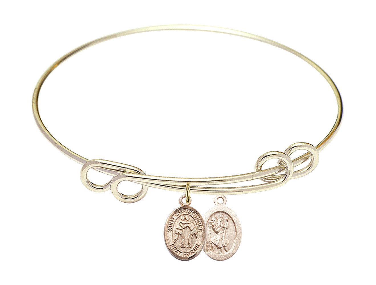 St. Christopher Wrestling Charm On A 8 1/2 Inch Round Double Loop Bangle Bracelet