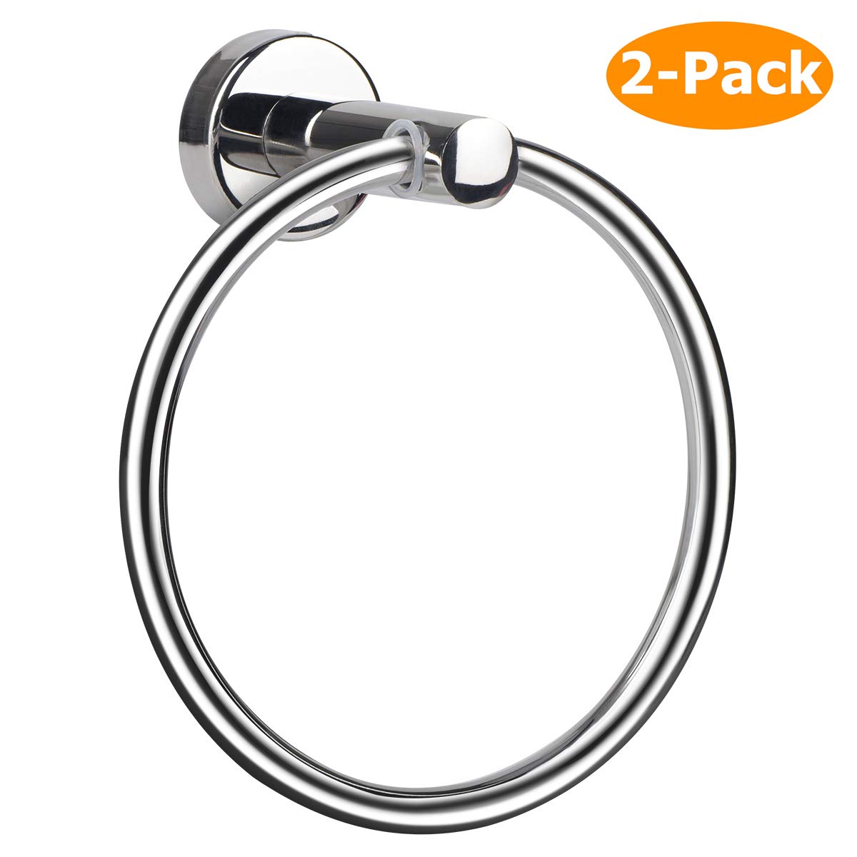 Towel Ring, Hand Towel Holder Ring Hanger for Bathroom Kitchen, Round Towel Rack Hook Rings with Wall Mounted Hardware, Silver Rustproof Polished 304 Stainless Steel (2 Pack, Drill Needed) by MongFun
