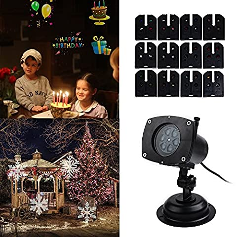 CM-Light Projector Lights 12 Replaceable Pattern Gobos Garden Lamp Waterproof Sparkling Landscape Projection Light for Christmas,Halloween,Holiday, Birthday, Wedding Party Decoration