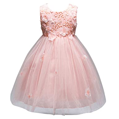 JIANLANPTT 3D Flower Petal Appliques Lace Tulle Mesh Tutu First Communion Dresses Girls Kids Pink 90