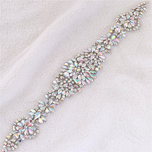 Rhinestone Bridal Wedding Dress Applique Belt Crystal Sash Applique Bridesmaid Gown Women Prom Formal Dress Belt Applique Jeweled Embellishment Clothes Accessories (AB ()