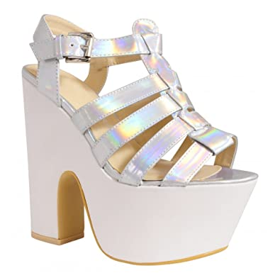 b7851c6ab0b9 Ladies Womens Silver Hologram White Pu Faux Leather Wedged Platforms Wedges Strappy  Sandals Sling backs High