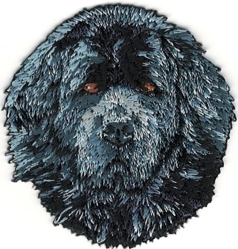 Newfoundland Head - Iron On Embroidered Patch Top Quality Newfoundland Head Portrait Dog Breed 2