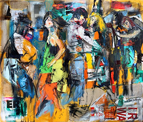 Collage Oil Reproductions (Dance painting, Large Giclee Canvas art Print, Modern Colorful Collage artwork, Abstract Figurative Wall decor)