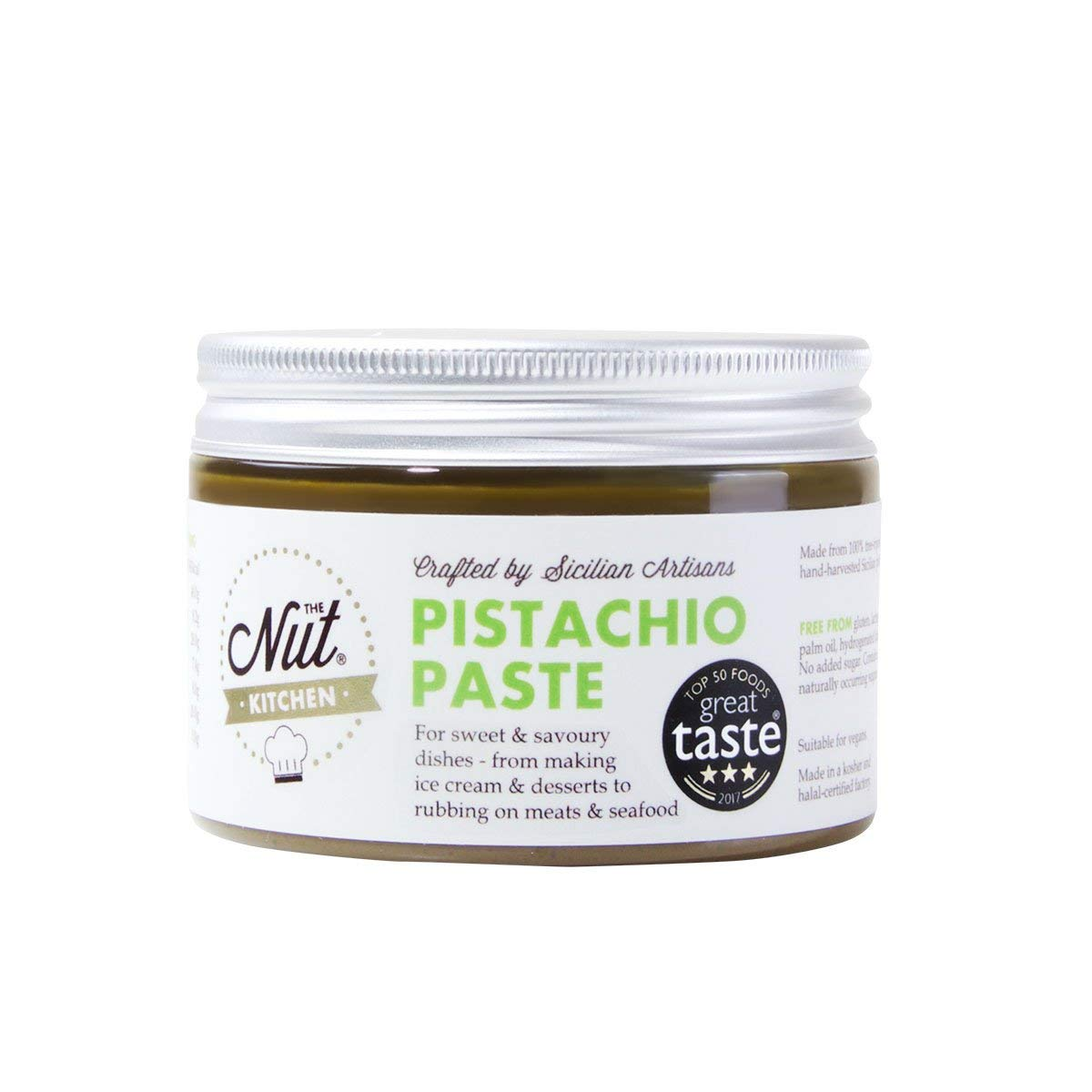 The Nut Kitchen - Smooth Pistachio Paste (Pistachio Butter) - Made from 100% Sicilian Pistachios - for Baking, Cooking and ice Cream Making - Great Taste Winner