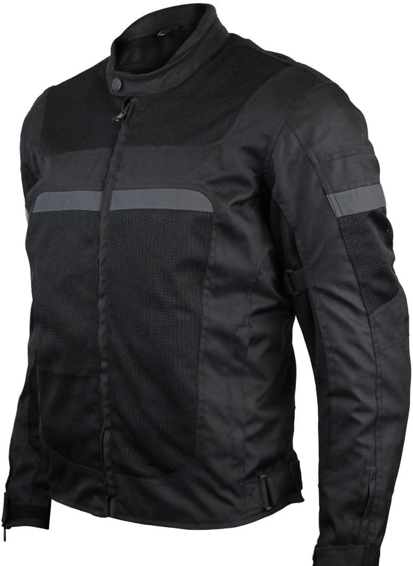 Mens Motorcycle Perforated Textile Reflective Mesh Riding 3 Season Jacket with CE amors (XL): Clothing